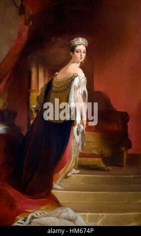Queen Victoria, portrait by Thomas Sully, oil on canvas, 1838. - Stock Photo