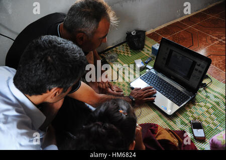 Syrian's Refugees in Turkey. -  17/08/2011  -  Turkey / Guvecci  -  Refugees show us some videos about events in - Stock Photo