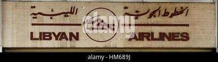 libyan airlines airline office symbol emblem transport airline arab libya logo logotype mark sign associate associated - Stock Photo