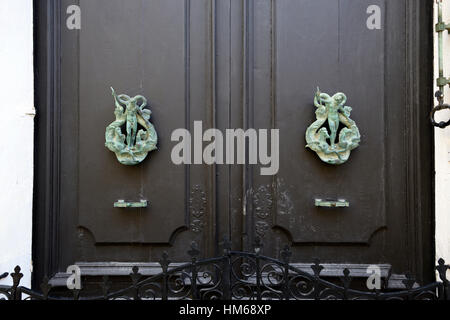 neptune god of the sea ornate brass door knocker marine theme mythology mythological doors doorway traditional Valletta - Stock Photo