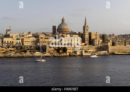 Valletta skyline St Paul's Anglican Cathedral Carmelite Church Sliema Malta Capital City World Heritage Site tourism - Stock Photo