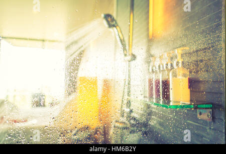 Shower while running water ( Filtered image processed vintage effect. ) - Stock Photo