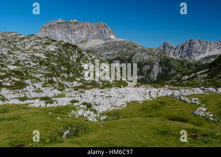 Karst, karst landscape, Steinernes Meer and Rote Wand, Lech Mountains, Vorarlberg, Austria - Stock Photo