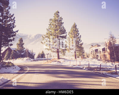 Way to Mammoth Lakes in Winter  ( Filtered image processed vintage effect. ) - Stock Photo