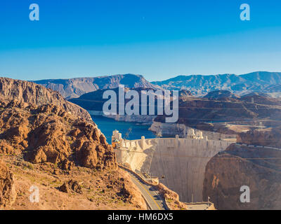 Hoover Dam in Nevada, USA - Stock Photo