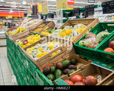 Fruit and vegetables aisle at Carrefour Market store, Cremona, Italy - Stock Photo