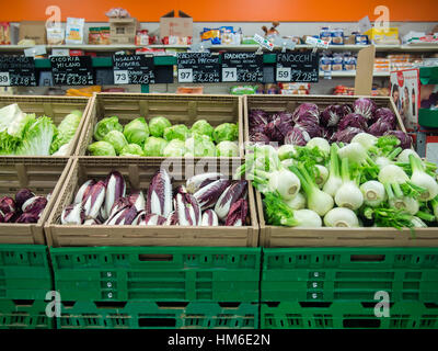 Vegetables area at Carrefour Market store, Cremona, Italy - Stock Photo