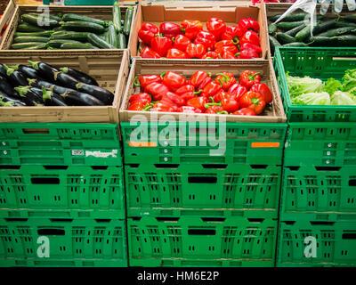 veggies area at the Carrefour Market store, Cremona, Italy - Stock Photo