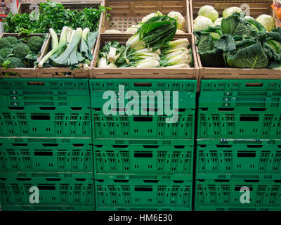 Green vegetables at the Carrefour Market store, Cremona, Italy - Stock Photo