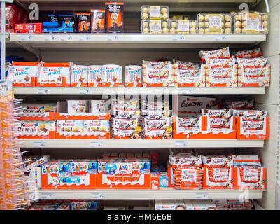 Kinder Ferrero products at the Carrefour Market store, Cremona, Italy - Stock Photo