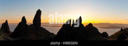 old man of storr at sunset, isle of skye, scotland - Stock Photo
