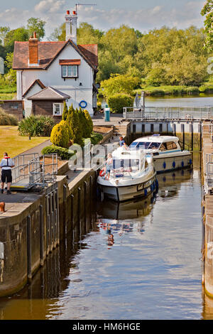 Boats In The Lock Goring On Thames Oxfordshire UK - Stock Photo