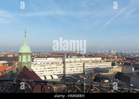 View from the top of the Round Tower, Copenhagen, Denmark - Stock Photo