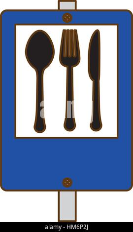 blue signal restaurant near icon design, vector illustration - Stock Photo