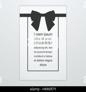 Greeting card with black bow Vector illustration Shiny satin black bow on white greeting card Realistic style - Stock Photo
