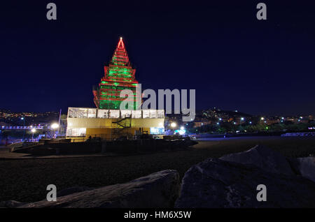 NAPLES,IT - DECEMBER 25,2016 - Christmas building called 'NALBERO', resembling of a Christmas tree in the center - Stock Photo