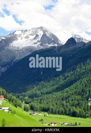View of Mount Colllalto (Hochgall) from Rein in Taufers (Riva di Tures). - Stock Photo