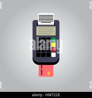pos terminal, paper receipt and debit credit bank card. cashless payment. Vector illustration in flat design on - Stock Photo