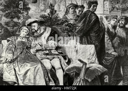 Henry VIII (1491-1547). King of England. Henry VIII with Anne Boleyn (1501-1536) at the Palace of Cardinal Wolsey. - Stock Photo