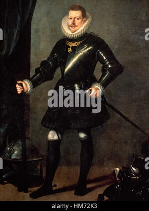 Philip III of Spain (1578-1621). King of Spain. Portrait of King Philip III with armour, 1617, by Pedro Antonio - Stock Photo