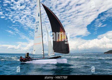 PUNTA ALA - 3 JUNE: teams sailing on Formula 18 national catamaran race, on June 3 2016 in Punta Ala, Italy - Stock Photo