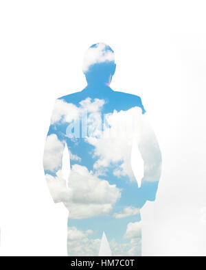 Composite image of clouds and silhouette of man - Stock Photo