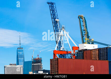 USA, New York, Construction site in financial district - Stock Photo