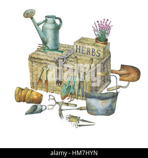 Illustration of gardening tools. Hand drawn watercolor painting on white background. - Stock Photo