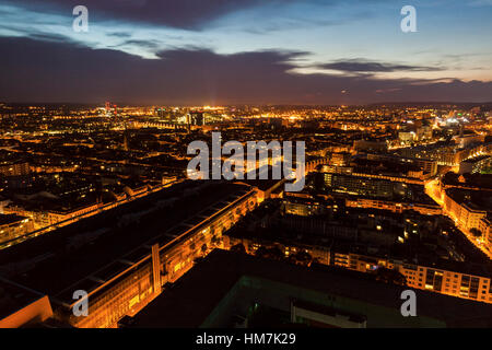 Switzerland, Basel, Basel-Stadt, Cityscape at dusk - Stock Photo