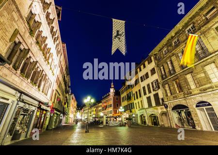 France, Auvergne-Rhone-Alpes, Chambery, Street at night - Stock Photo