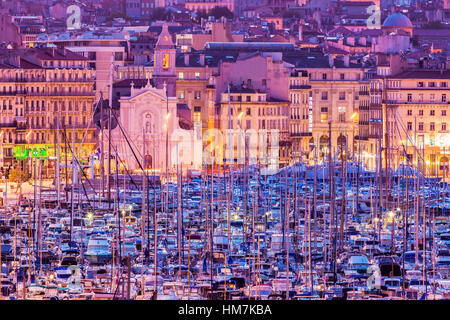 France, Provence-Alpes-Cote d'Azur, Marseille, Cityscape with Vieux port - Old Port at sunset - Stock Photo
