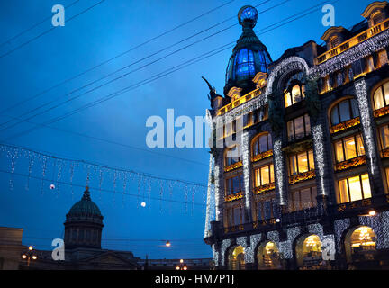 Singer Zinger Book House on Nevsky Prospect in the historic center of St Petersburg, Russia - Stock Photo