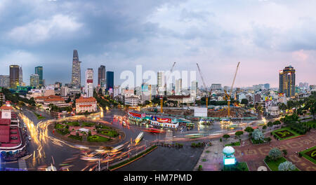Impression, colorful, vibrant scene of traffic, dynamic, crowded city on street, Quach Thi Trang roundabout at Ben - Stock Photo