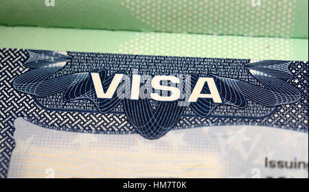 VISA Stamp United States of America Close Up View. - Stock Photo