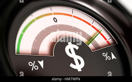 3D illustration of a dial with dollar symbol with needle pointing the red zone. Rise of prices concept, horizontal - Stock Photo