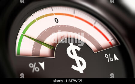 3D illustration of a dial with dollar symbol with needle pointing the green zone. Drop of prices concept, horizontal - Stock Photo