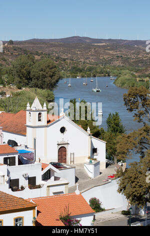 View over whitewashed village of Alcoutim on Rio Guadiana river, Alcoutim, Algarve, Portugal, Europe - Stock Photo