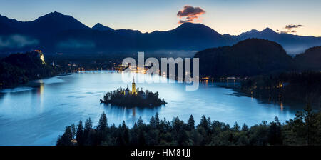 Overhead view of Lake Bled with St Marys Church of the Assumption, Bled, Upper Carniola, Slovenia - Stock Photo