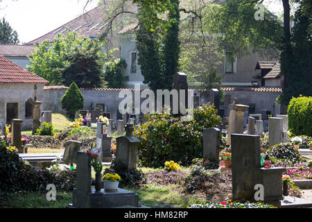 The cemetery outside the Sedlec ossuary near the town of Kutna Hora in the Czech Republic. - Stock Photo