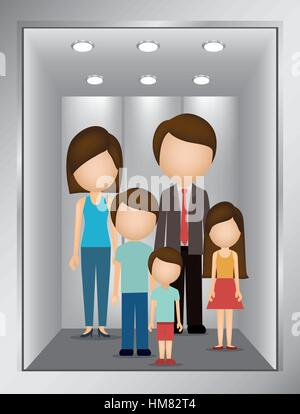 people inside elevator. picture open building elevator with family inside vector illustration - stock photo people