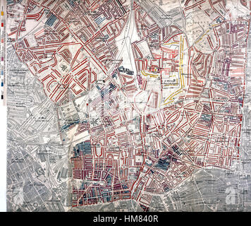 CHARLES BOOTH (1840-1916) English social reformer. Section of his  1892 colour map charting areas of London based - Stock Photo