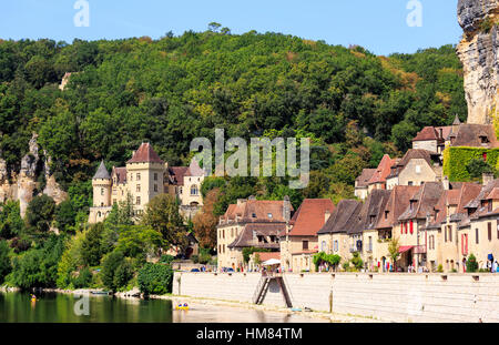 Canoeing on the River Dordogne, La Roque Gageac, France - Stock Photo