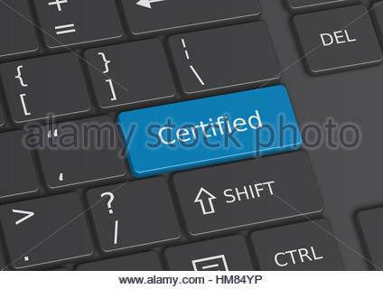 The word Certified written on a blue key from the keyboard - Stock Photo