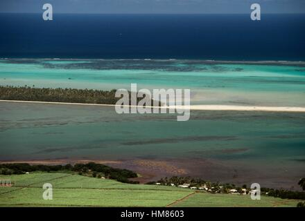 The south west coast with Ile aux Benitiers, Mauritius. - Stock Photo
