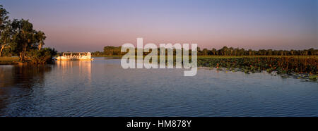 A tourist boat explores a tranquil billabong at sunset. - Stock Photo