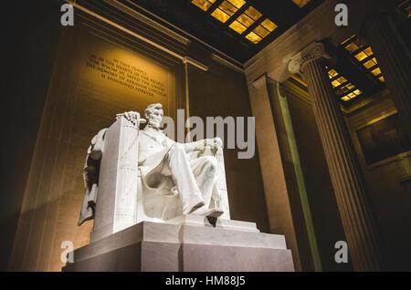 Lincoln Memorial Statue at Night, Low Angle View, Washington, DC, USA - Stock Photo