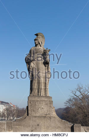 MUNICH – JANUARY 28: Maximilian Bridge over Isar River in Munich, Upper Bavaria, Germany - Stock Photo