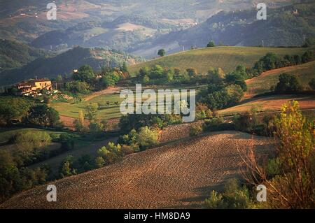 Agricultural landscape and farmstead between Castel San Pietro Terme and Sassoleone, Emilia-Romagna, Italy. - Stock Photo