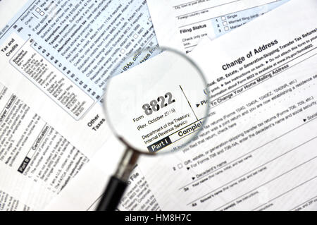 8822 Change Of Address Federal Tax Form Stock Photo, Royalty Free