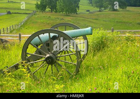 East Cemetery Hill cannon, Gettysburg National Military Park, Pennsylvania. - Stock Photo